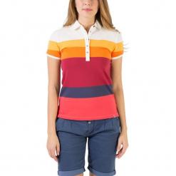 """Koszulka polo """"Striped"""" w kolorze biało-czerwono-pomarańczowym. Białe bluzki damskie marki Timezone, xs, w paski, polo. W wyprzedaży za 68,95 zł."""