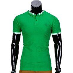 KOSZULKA MĘSKA POLO BEZ NADRUKU S843 - ZIELONA. Zielone koszulki polo marki Ombre Clothing, m, z nadrukiem. Za 29,00 zł.