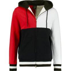 HUF VELLI HOODIE Bluza rozpinana red/black/white. Czarne bluzy męskie rozpinane marki HUF, z gumy. Za 399,00 zł.