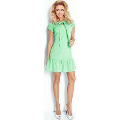 Anita Sukienka z falbanką i kokardką - zielona. Zielone sukienki hiszpanki numoco, s, z kokardą. Za 139,99 zł.