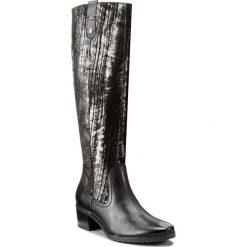 Kozaki CAPRICE - 9-25518-29 Blk.Metal.Comb 095. Czarne buty zimowe damskie Caprice, ze skóry, przed kolano, na wysokim obcasie, na obcasie. W wyprzedaży za 359,00 zł.