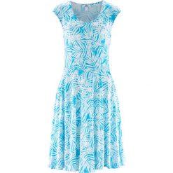 Sukienki: Sukienka bonprix biało-błękit laguny z nadrukiem