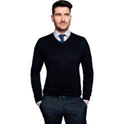 Swetry klasyczne męskie: sweter nagel w serek granatowy