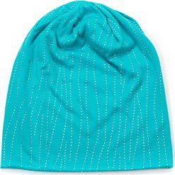 Czapka damska beanie Srebrna trawa turkusowa. Niebieskie czapki zimowe damskie Art of Polo. Za 32,73 zł.