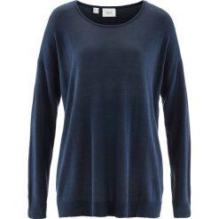 Sweter bonprix ciemnoniebieski. Niebieskie swetry klasyczne damskie bonprix, z okrągłym kołnierzem. Za 37,99 zł.