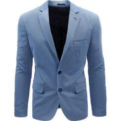 Marynarki męskie slim fit: Marynarka męska casual niebieska w kratę (mx0366)