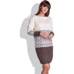 Espresso Swetrowa Sukienka w Paski z Fakturą. Brązowe sukienki balowe Molly.pl, uniwersalny, w paski, z dzianiny, z dekoltem w łódkę, proste. Za 129,99 zł.