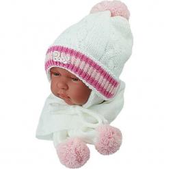 Czapka niemowlęca z szalikiem CZ+S 002D. Szare czapeczki niemowlęce Proman. Za 38,76 zł.