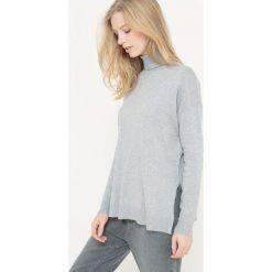 Sweter z golfem z bawełny i jedwabiu. Szare golfy damskie marki La Redoute Collections, m, z bawełny, z kapturem. Za 115,50 zł.