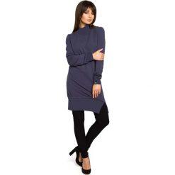 Niebieska Bluzo-Tunika z Golfem. Niebieskie tuniki damskie eleganckie marki Molly.pl, l, z bawełny, z golfem, z długim rękawem. Za 139,90 zł.