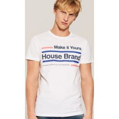 T-shirt Biały. Czarne t-shirty męskie marki House, l, z nadrukiem. Za 29,99 zł.