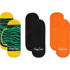 Happy Socks - Stopki Zebra (3-pak). Pomarańczowe skarpetki damskie Happy Socks, z motywem zwierzęcym, z bawełny. Za 69,90 zł.