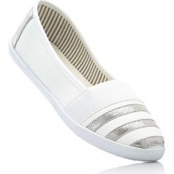 Baleriny bonprix biało-srebrny. Białe baleriny damskie bonprix. Za 49,99 zł.