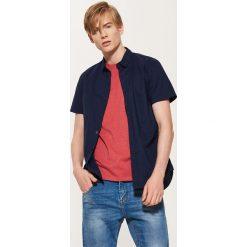 Koszula w mikrowzór - Niebieski. Szare koszule męskie marki House, l, z bawełny. Za 79,99 zł.