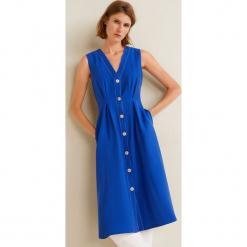 Mango - Sukienka Harmony. Szare sukienki rozkloszowane marki Mango, na co dzień, l, z tkaniny, casualowe, z dekoltem halter, na ramiączkach, midi. Za 229,90 zł.