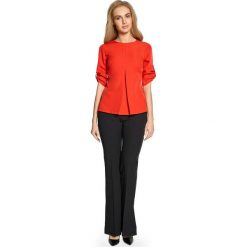 Czerwona Trapezowa Bluzka z Podpiętymi Rękawami. Czerwone bluzki wizytowe Molly.pl, l, biznesowe, z dekoltem w łódkę, z krótkim rękawem. Za 99,90 zł.