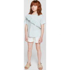 Mango Kids - Top dziecięcy Noelia 110-164 cm. Szare bluzki dziewczęce bawełniane Mango Kids, z aplikacjami, z okrągłym kołnierzem, z krótkim rękawem. Za 59,90 zł.