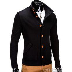 BLUZA MĘSKA ROZPINANA BEZ KAPTURA CARMELO - CZARNA. Czarne bluzy męskie rozpinane marki Ombre Clothing, m, z bawełny, bez kaptura. Za 69,00 zł.