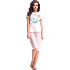 Piżama w kolorze kremowo-jasnoróżowym - t-shirt, spodnie. Białe piżamy damskie Doctor Nap, s, z nadrukiem. W wyprzedaży za 59,95 zł.