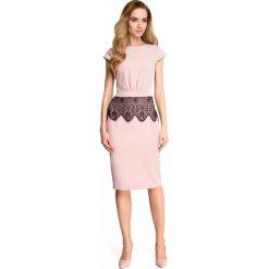 Sukienka ołówkowa z koronką s108. Różowe sukienki koronkowe marki numoco, l, z dekoltem w łódkę, oversize. Za 149,90 zł.