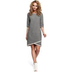 Sukienki: Dzianinowa sukienka z zakładką na dole – szara