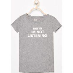 T-shirt z napisem - Szary. Szare t-shirty damskie marki Reserved, l, z napisami. Za 24,99 zł.