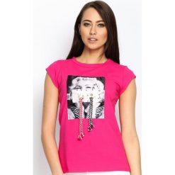 Bluzki asymetryczne: Fuksjowy T-shirt Used Famous