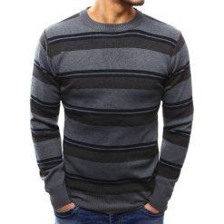 Swetry klasyczne męskie: Sweter męski w paski antracytowy (wx1015)