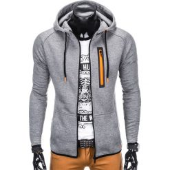 BLUZA MĘSKA ROZPINANA Z KAPTUREM B747 - SZARA. Szare bluzy męskie rozpinane Ombre Clothing, m, z bawełny, z kapturem. Za 69,00 zł.