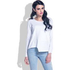 Bluzki, topy, tuniki: Biała Bluzka z Wycięciem i Kieszenią na Przodzie