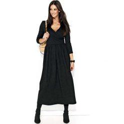 Czarna Długa Sukienka z Kopertowym Dekoltem. Czarne długie sukienki marki Molly.pl, l, z kopertowym dekoltem, z długim rękawem, dopasowane. Za 117,90 zł.