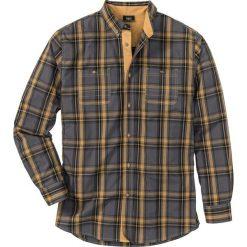 Koszula z długim rękawem Regular Fit bonprix szary łupkowy. Białe koszule męskie na spinki marki bonprix, z klasycznym kołnierzykiem, z długim rękawem. Za 89,99 zł.