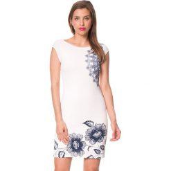 """Sukienki: Sukienka """"Melisa"""" w kolorze kremowo-granatowym"""