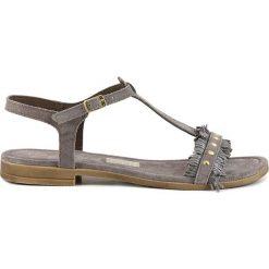 Rzymianki damskie: Skórzane sandały w kolorze szarym