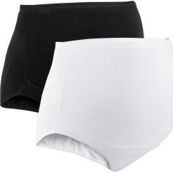 Figi z talią nad brzuch (2 pary) bonprix biały + czarny. Białe bielizna ciążowa marki bonprix, ze skóry. Za 35,98 zł.