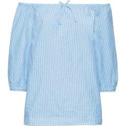 """Bluzki damskie: Bluzka """"carmen"""", rękawy 3/4 bonprix jasnoniebiesko-biały w paski"""