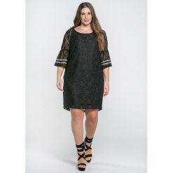 Długie sukienki: Koronkowa sukienka z krótkim rękawem