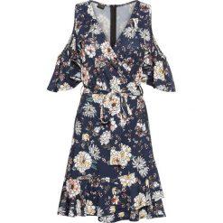 Sukienka z odkrytymi ramionami bonprix ciemnoniebieski z nadrukiem. Niebieskie sukienki na komunię bonprix, z nadrukiem, z dżerseju, z kopertowym dekoltem, kopertowe. Za 119,99 zł.