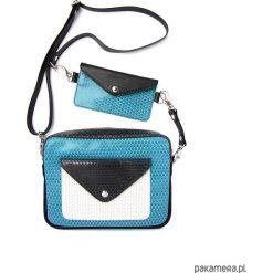 Torebka Double Bag turkusowe ziarenka z czernią. Niebieskie torebki klasyczne damskie Pakamera, ze skóry. Za 420,00 zł.