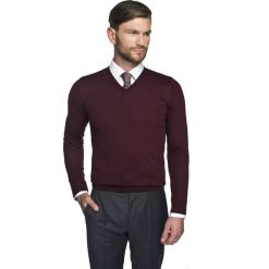 Swetry klasyczne męskie: sweter valero w serek bordo 0001