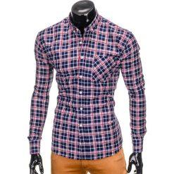 KOSZULA MĘSKA W KRATĘ Z DŁUGIM RĘKAWEM K396 - GRANATOWY/CZERWONY. Brązowe koszule męskie na spinki marki Ombre Clothing, m, z aplikacjami, z kontrastowym kołnierzykiem, z długim rękawem. Za 49,00 zł.
