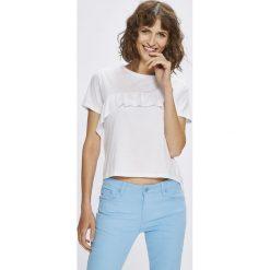 Answear - Top Stripes Vibes. Niebieskie topy damskie marki DOMYOS, z elastanu, street, z okrągłym kołnierzem. W wyprzedaży za 19,90 zł.