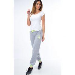 Spodnie dresowe damskie: Spodnie dresowe ze ściągaczami jasnoszaro-zielone 0470