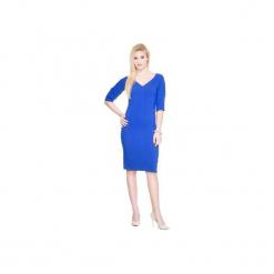 NOWOŚĆ! Sukienka z dekoltem SL2166BL. Czarne sukienki na komunię marki Soleil, na imprezę, s, w kolorowe wzory, z bawełny, z długim rękawem, mini, dopasowane. Za 119,00 zł.
