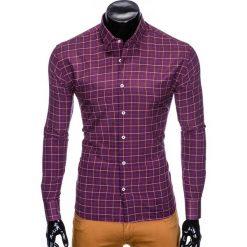 KOSZULA MĘSKA W KRATĘ Z DŁUGIM RĘKAWEM K425 - BORDOWA. Brązowe koszule męskie marki Ombre Clothing, m, z aplikacjami, z kontrastowym kołnierzykiem, z długim rękawem. Za 59,00 zł.