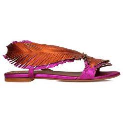 Rzymianki damskie: Skórzane sandały w kolorze różowo-pomarańczowym