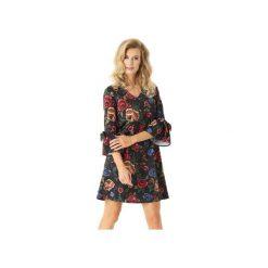 Sukienka trapezowa Melody czarna ED022-3. Czarne sukienki balowe marki Ella dora, xl, w koronkowe wzory, z koronki, z falbankami, dopasowane. Za 239,00 zł.