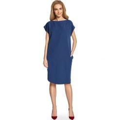 ALETA Sukienka o prostym fasonie z rozcięciem na udo - granatowa. Niebieskie sukienki marki numoco, na imprezę, s, w kwiaty, z jeansu, sportowe, sportowe. Za 129,99 zł.