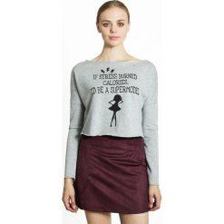 Krótka bluza znadrukiem. Szare bluzy damskie marki La Redoute Collections, m, z bawełny, z kapturem. Za 125,96 zł.