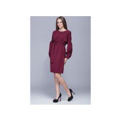 Sukienka wiązana w pasie-bordo.H028. Czarne sukienki na komunię marki Harmony, na co dzień, xl, z materiału, z asymetrycznym kołnierzem, mini, koszulowe. Za 215,00 zł.